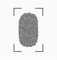 fingerprint icon print of finger with frame vector image