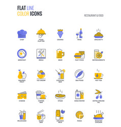 Flat line multicolor icons design-restaurant and vector