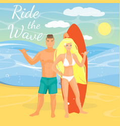 Flat of surfing couple showing vector