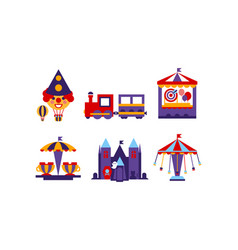 Flat set of different attractions rides and vector