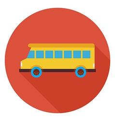 flat transportation school bus circle icon vector image