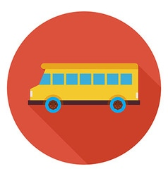 Flat Transportation School Bus Circle Icon with vector image