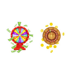 Flat wheel of fortune roulette wheel vector