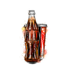 glass soda bottle and glass from a splash of vector image
