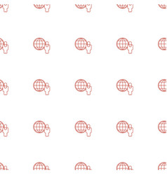 globe and man icon pattern seamless white vector image