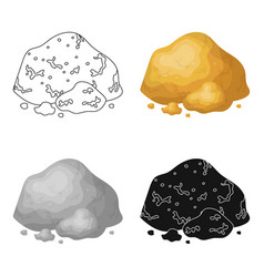 Golden ore icon in cartoon style isolated on white vector