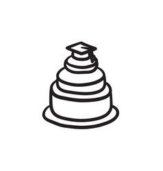 Graduation cap on top of cake sketch icon vector