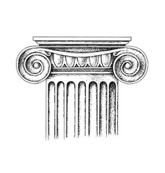hand drawn capital ionic order vector image