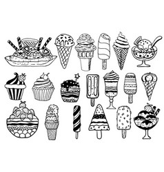 Hand drawn ice cream set vector