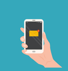 Hand holding smartphone with new email vector