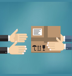 hands giving cardboard package to another hands vector image vector image
