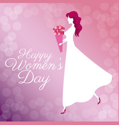 happy womens day poster girl bouquet flowers vector image