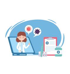 Health online female doctor in laptop report vector