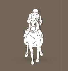 horse racing jockey riding horse graphic vector image