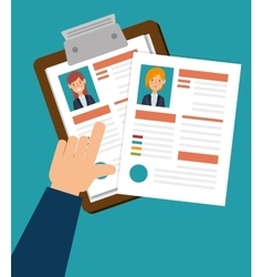 Human resources clipboard hired design isolated vector