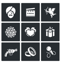 Indian cinema icons set vector