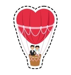 Isolated hot air balloon and heart design vector