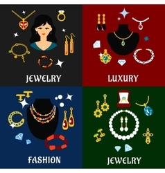 Jewelry and accessories flat icons vector image