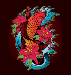 Koi fish tattoo japanese style color vector