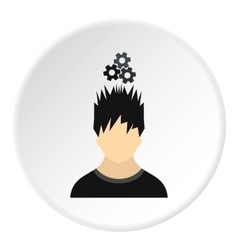 Male avatar and gear icon flat style vector image