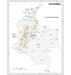 Map coffee growing areas colombia vector