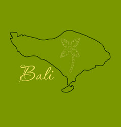 Map of bali thin line vector