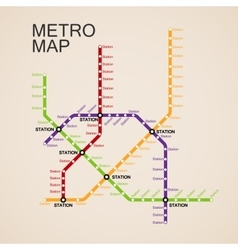 Metro or subway map design vector