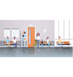 mix race patients waiting in line queue to doctor vector image