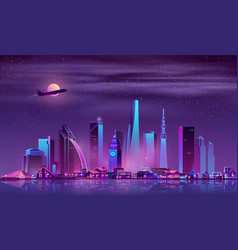 modern metropolis night cityscape cartoon vector image
