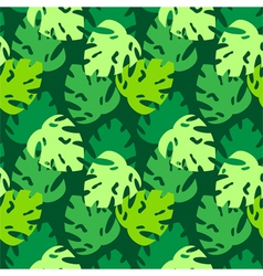 monstera leaves pattern green vector image