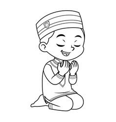 Moslem boy praying dua bw vector