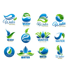 natural and mineral water icons vector image