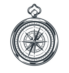 Nautical compass for camping and sailing map vector