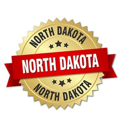 North Dakota round golden badge with red ribbon vector