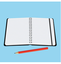 office notebook with a red pencil vector image