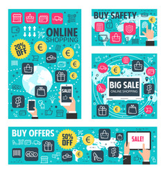 Online shopping banner for web store sale offer vector