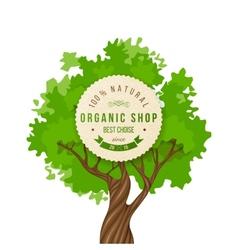 Organic shop emblem over green tree vector image