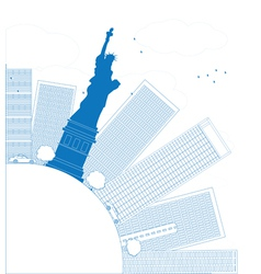 Outline new york city skyline with copy space vector