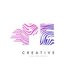 Pe p e zebra lines letter logo design with vector