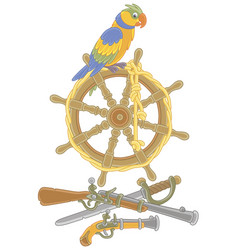 pirate parrot on an old ship steering-wheel vector image