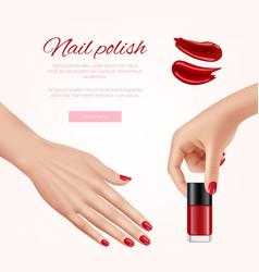 polish nails ads woman beauty cosmetics fashion vector image