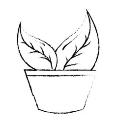 Pot with leafs plant ecology icon vector