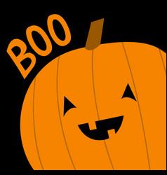 Pumpkin in corner boo text happy halloween vector