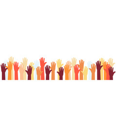Raised hands volunteer group colorful banner vector