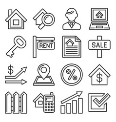 real estate icons on white background line style vector image