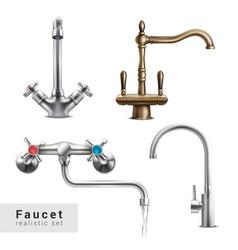 realistic faucet designs set vector image