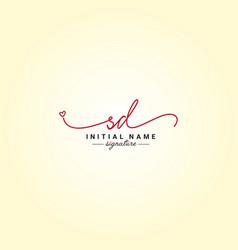 Sd signature logo - handwritten logo vector