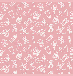 seamless background with linear baby care symbols vector image