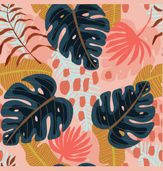 Seamless pattern with exotics tropical leaves vector