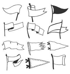 Set 12 pennants retro monochrome labels hand vector